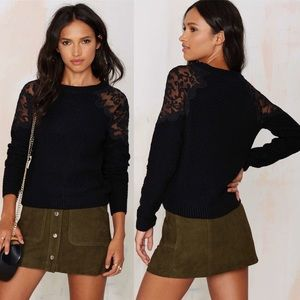 Nasty Gal Nadia Organza Patch Sweater